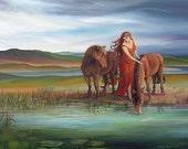 Epona Celtic Pagan Horse Goddess Art 5x7 Blank Greeting Card