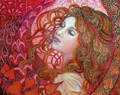 Aphrodite 5x7 Blank Greeting Card Art Nouveau Psychedelic Bohemian Mythology Gypsy Goddess Art