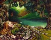 Awakening Pagan Spring Beltane Goddess Art 5x7 Blank Greeting Card