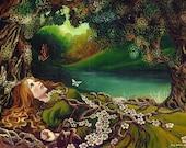 Awakening Pagan Spring Beltane Goddess Art 5x7 Blank Greeting Card Mythology Psychedelic Bohemian Gypsy Goddess Art