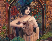 Meditrina Roman Goddess of Wine 11x14 Art Nouveau Print