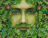 Oak King Pagan Summer Solstice God 5x7 Greeting Card Pagan Art Goddess Art