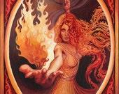 Goddess Art Brigid Imbolc Celtic Goddess of Inspiration 5x7 Card Psychedelic Art