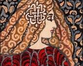 Garnet Goddess - Art Nouveau 5x7 Blank Greeting Card