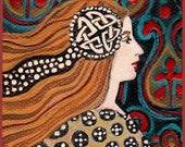 Carnelian Gemstone Goddess Celtic Art 5x7 Greeting Card