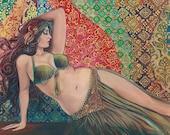 Raqs Sharqi 8x10 Fine Art Print Pagan Mythology Psychedelic Belly Dance Bohemian Gypsy Goddess Art