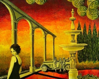 Deco Dame 5x7 Blank Greeting Card Art Deco Retro Bohrmian Goddess Art