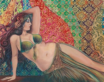 Raqs Sharqi 16x20 Poster Fine Art Print Pagan Mythology Psychedelic Belly Dance Bohemian Gypsy Goddess Art