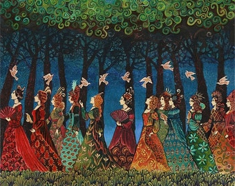Twelve Women with Birds Goddess Art 16x20 Giclée Print on Canvas Fairytale Pagan Mythology Psychedelic Bohemian Gypsy Goddess Art