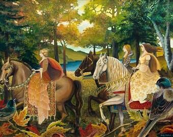 Autumn Riders 11x14 Fine Art Print Renaissance Medieval Surreal Fall Forest Equine Goddess Art