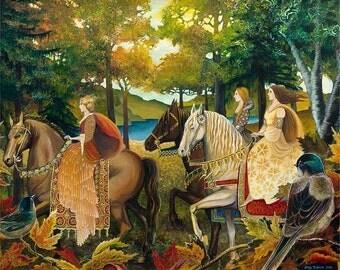 Autumn Riders 8x10 Fine Art Print Renaissance Medieval Surreal Fall Forest Equine Goddess Art