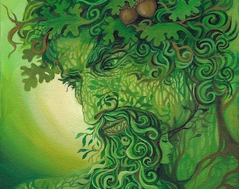 Green Man 8x10 Fine Art Print Pagan Mythology Forest God Cernunnos Goddess Art