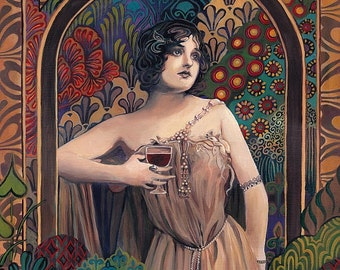 Meditrina Roman Goddess of Wine  5x7 Greeting Card Pagan Mythology Bohemian Gypsy Goddess Art