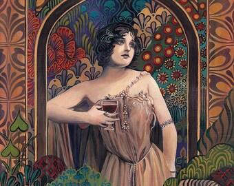Meditrina  Roman Goddess of Wine Art Nouveau 8x10 Print Art Nouveau Pagan Mythology Bohemian Gypsy Goddess Art
