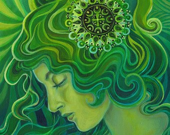 Gaia Green Gaia 5x7 Blank Greeting Card Fine Art Print Pagan Mythology Art Nouveau Emerald Psychedelic Gypsy Goddess Art
