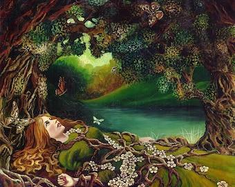 Awakening Beltane Pagan Spring Forest Goddess Art 11x14 Print Mythology Psychedelic Bohemian Gypsy Goddess Art