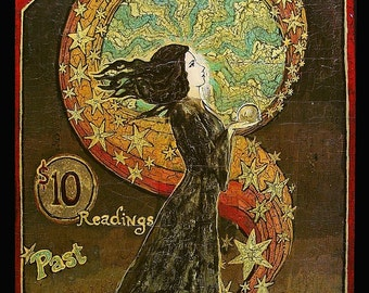 Psychic Fortunes Art Nouveau Gypsy Circus 5x7 Card Pagan Mythology Psychedelic Bohemian Goddess Art