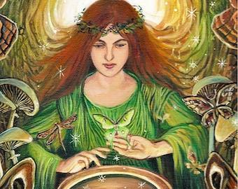 Luna Magick 5x7 Greeting Card Fine Art Print Pagan Mythology Mushroom Luna Moth Psychedelic Goddess Art