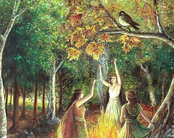The Coven 5x7 Greeting Card Fine Art Print Pagan Mythology Samhain Witch Nature Goddess Art