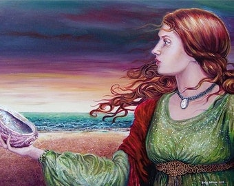 Mother of Pearl 5x7 Greeting Card Pagan Mythology Medieval Ocean Goddess Art