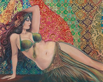 Raqs Sharqi 8x10 Fine Art Print Pagan Mythology Psychedelic Belly Dance Bohemian Gypsy Goddess Art