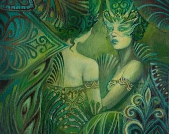 Amunet Egyptian Goddess of Mystery 8x10 Fine Art Print Pagan Mythology Bohemian Art Deco Green Goddess Art