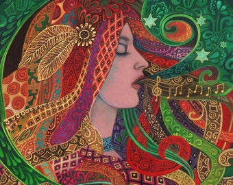 Mezzo Goddess Art Nouveau Music Witch 16x20 Poster Print Psychedelic Gypsy