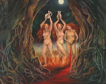 Menstrual Night 11x14 Fine Art Print Pagan Mythology Witch Sisters Goddess Art