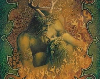 Beltane Reunion 11x14 Print Pagan Bohemian Mythology Goddess Art