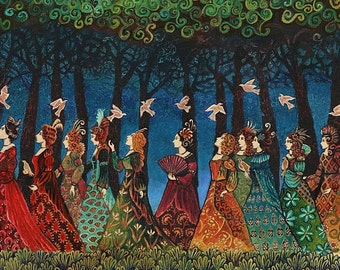 Twelve Women With Birds ACEO ATC Miniature Altar Art Pagan Mythology Psychedelic Bohemian Gypsy Goddess Art
