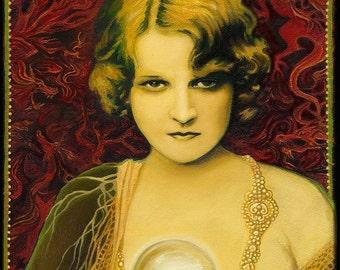 Gypsy Queen ACEO Mini Print Altar Art Psychedelic Art Nouveau Mythology Gypsy Crystal Ball Psychic Goddess Art
