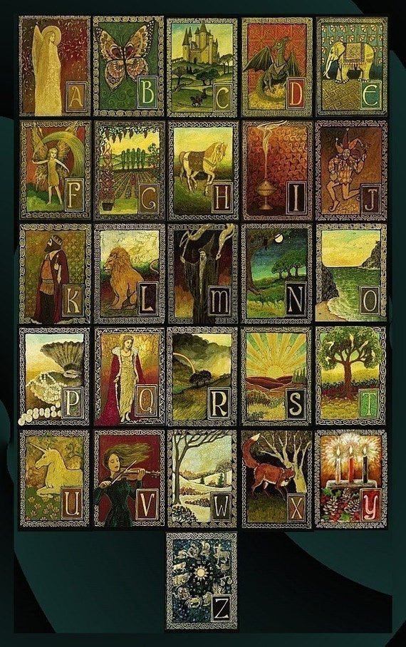Complete Gift Card Set of the Medieval Alphabet ACEO