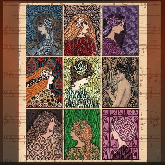 The Gemstone Goddesses - Miniature Gift Card Set of Nine ACEO