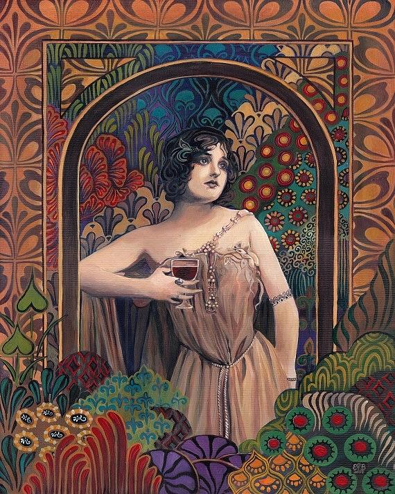 Meditrina - Roman Goddess of Wine Art Nouveau 8x10 Print
