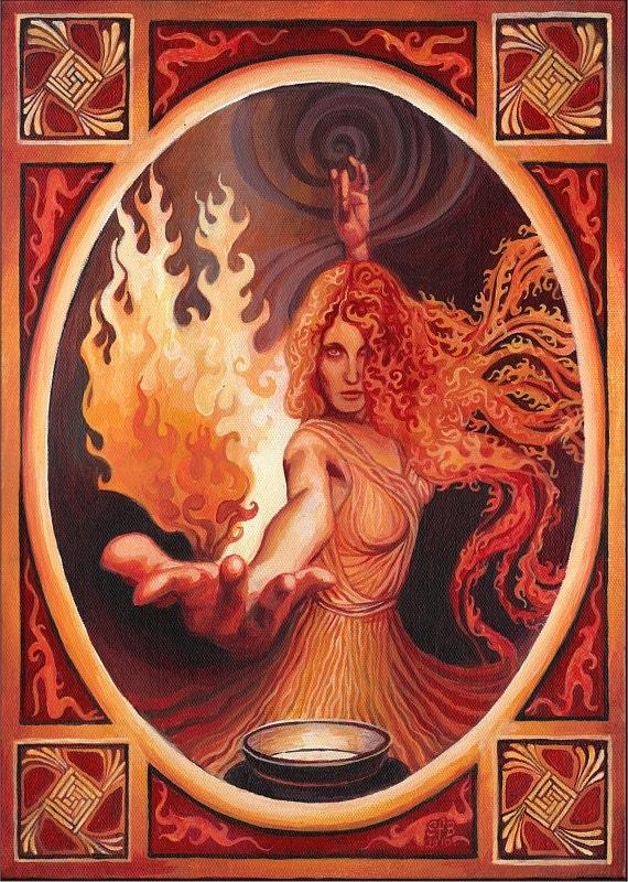 Goddess Art Brigid Imbolc Celtic Goddess of Inspiration 5x7 Card Pagan Mythology Psychedelic Bohemian Gypsy Goddess Art