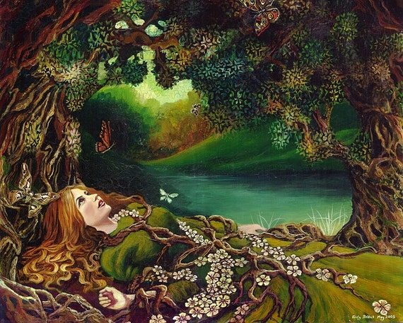 Awakening Pagan Spring Forest Goddess Art 8x10 Print