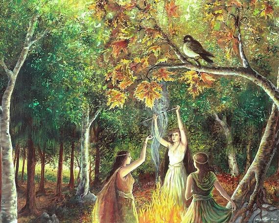 The Coven Samhain Pagan Witch Art Goddess Art 8x10 Print