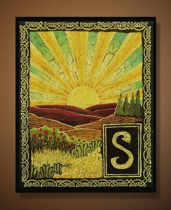 S is for Sunrise - Medieval Alphabet Letter 8x10 Print