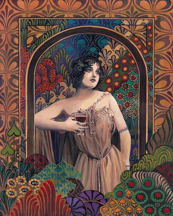 Meditrina Roman Goddess of Wine Art Nouveau 16x20 Poster Print