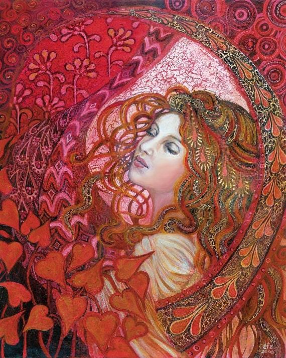 Aphrodite Art Nouveau Love Goddess Art 16x20 Poster Print Pagan Mythology Psychedelic Bohemian Gypsy Goddess Art