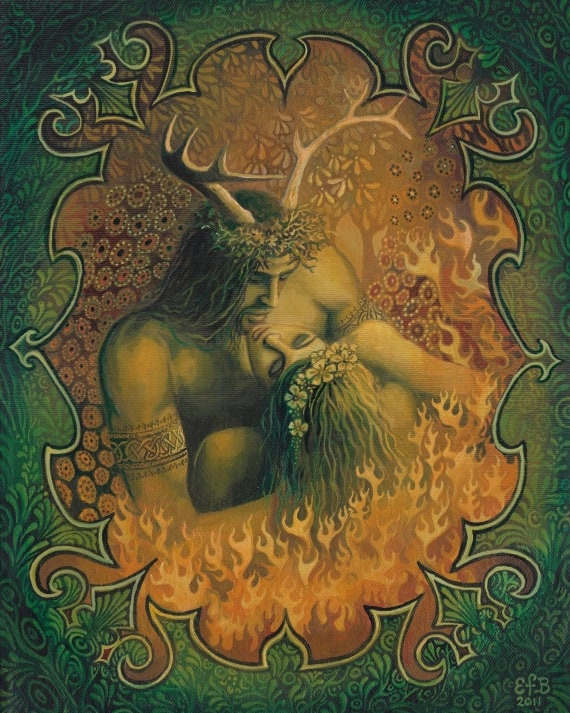Beltane Reunion Pagan Art God & Goddess 16x20 Poster Print