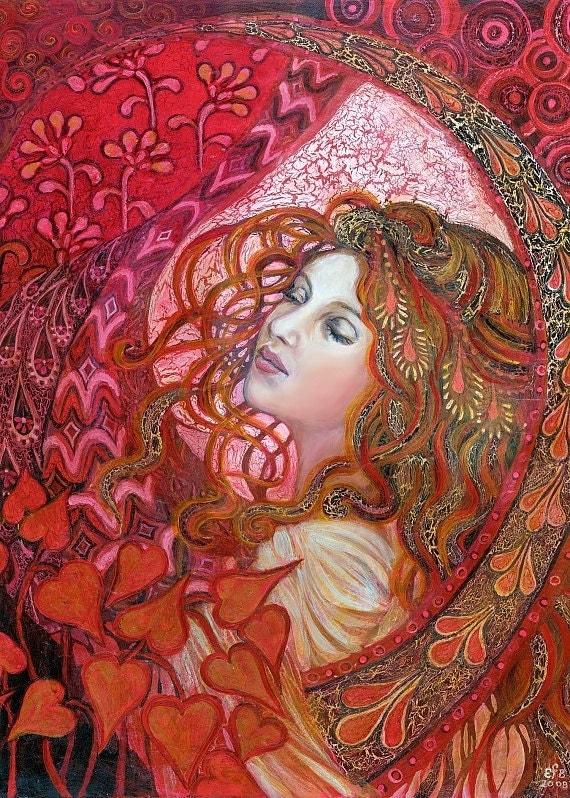 Aphrodite Art Nouveau Goddess of Love ACEO Mini Print Altar