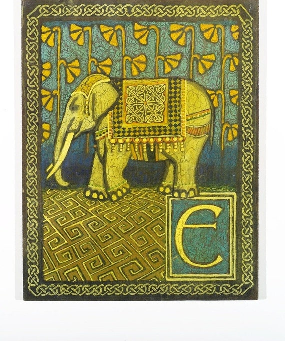 E is for ELEPHANT A print from the Medieval Alphabet