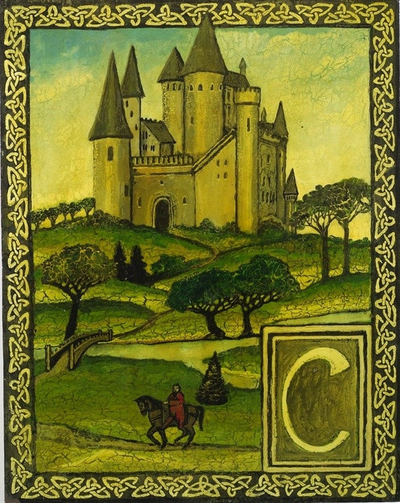 C is for CASTLE -Original art PRINT from the ALPHABET by Emily Balivet
