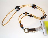 Black and Amber Breakaway ID Badge Necklace
