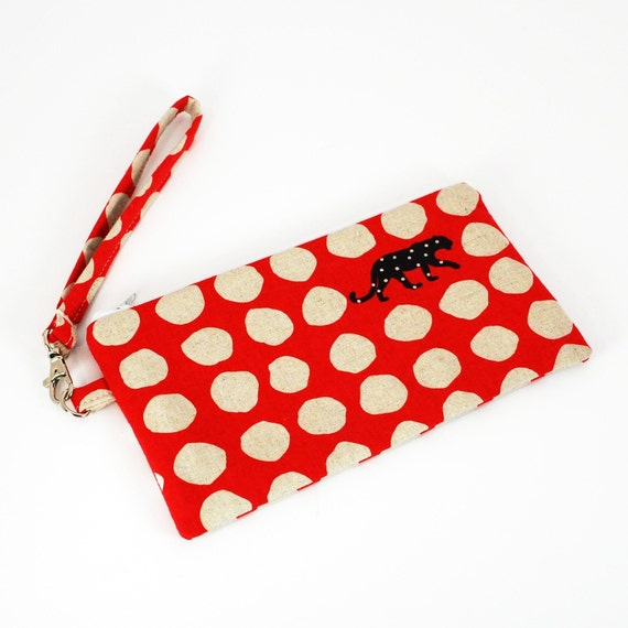 Wristlet in Red Panther