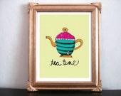 8x10 Tea Time DIY Digital Art Print - Instant Download