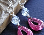 Vintage Swarovksi crystal, vintage glass teardrop  and sterling silver earrings - Syrah