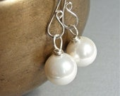Earrings - sterling silver, south sea shell pearl, classic design - Magnolia