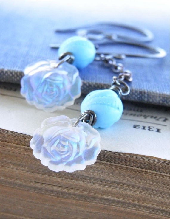 Earrings - sterling silver, oxidised, vintage glass, chain - Blue Rose